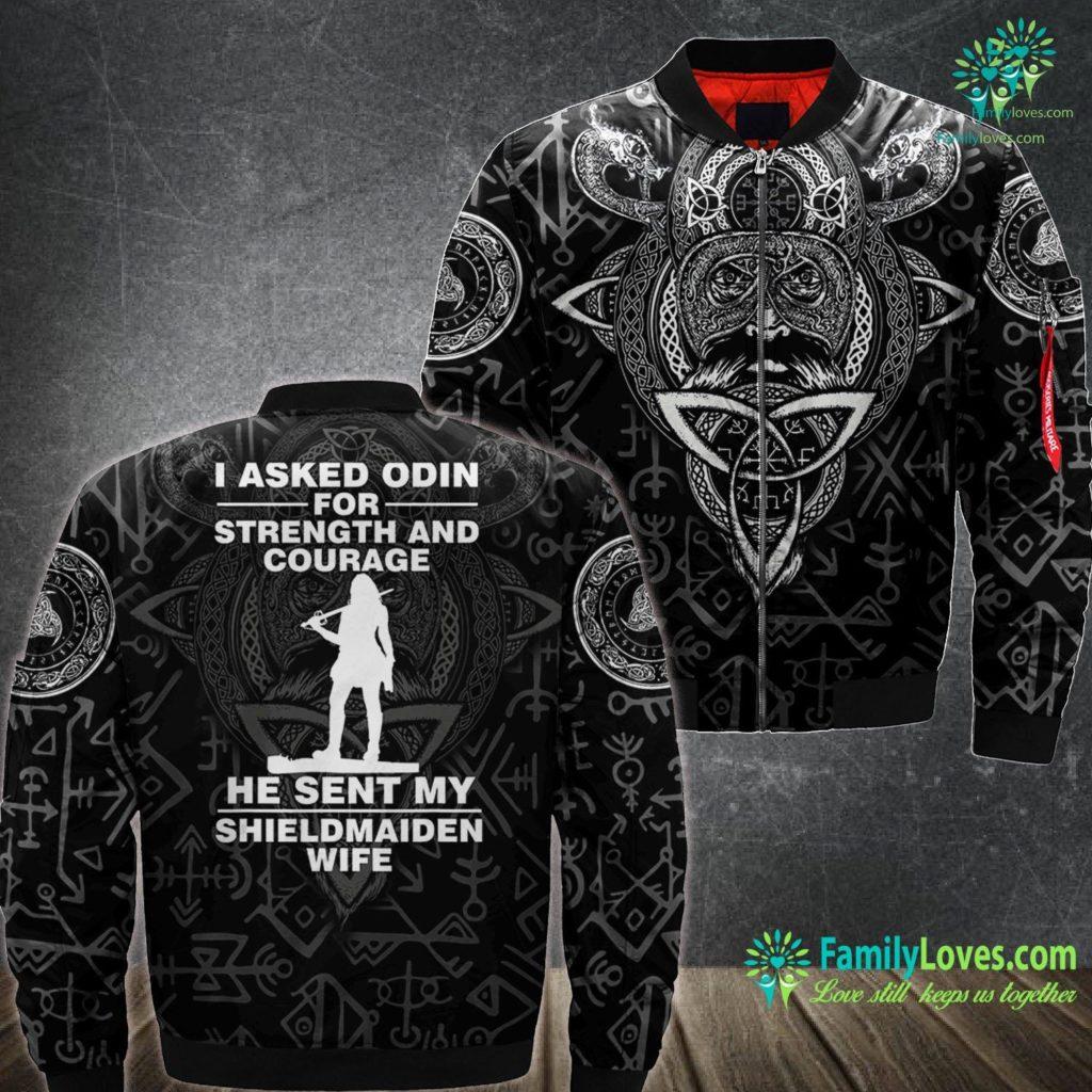 Viking Ski Shop I Asked Odin Sent My Shieldmaiden Wife Warrior Viking Ma1 Bomber Jacket All Over Print Familyloves.com