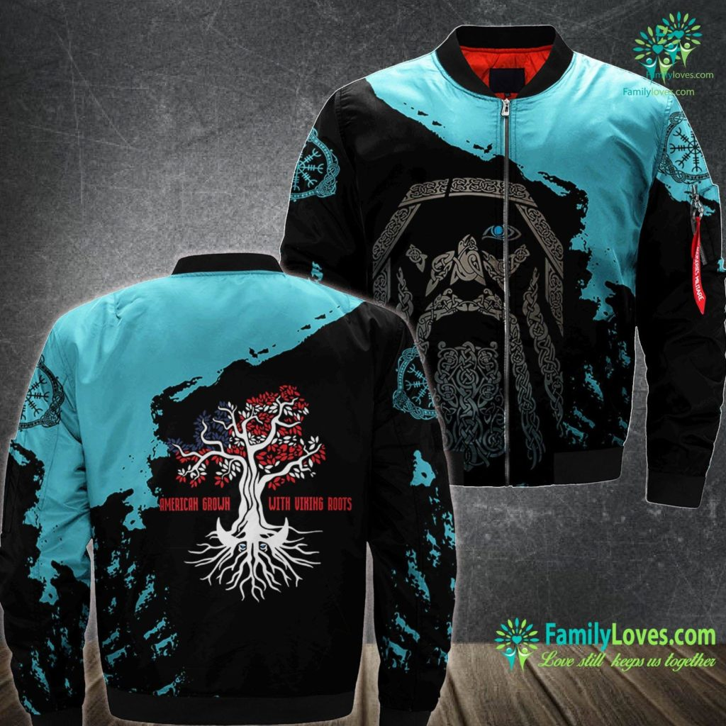 Viking Store American Grown With Viking Roots Viking Pride Tee Viking Ma1 Bomber Jacket All Over Print Familyloves.com