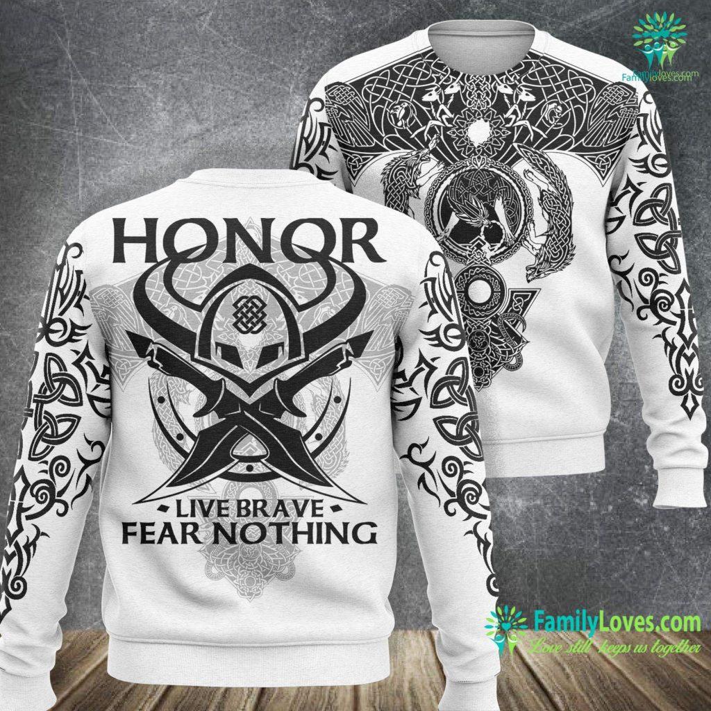 Viking Stove Viking Warrior Honor Live Brave Fear Nothing Viking Sweatshirt All Over Print Familyloves.com