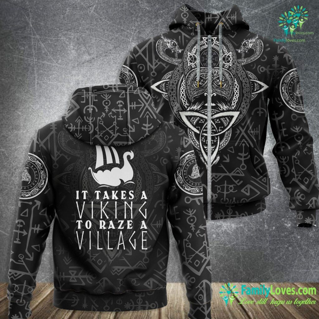 Viking Symbol For Love It Takes A Viking To Raze A Village Funny Viking Viking Zip-up Hoodie All Over Print Familyloves.com