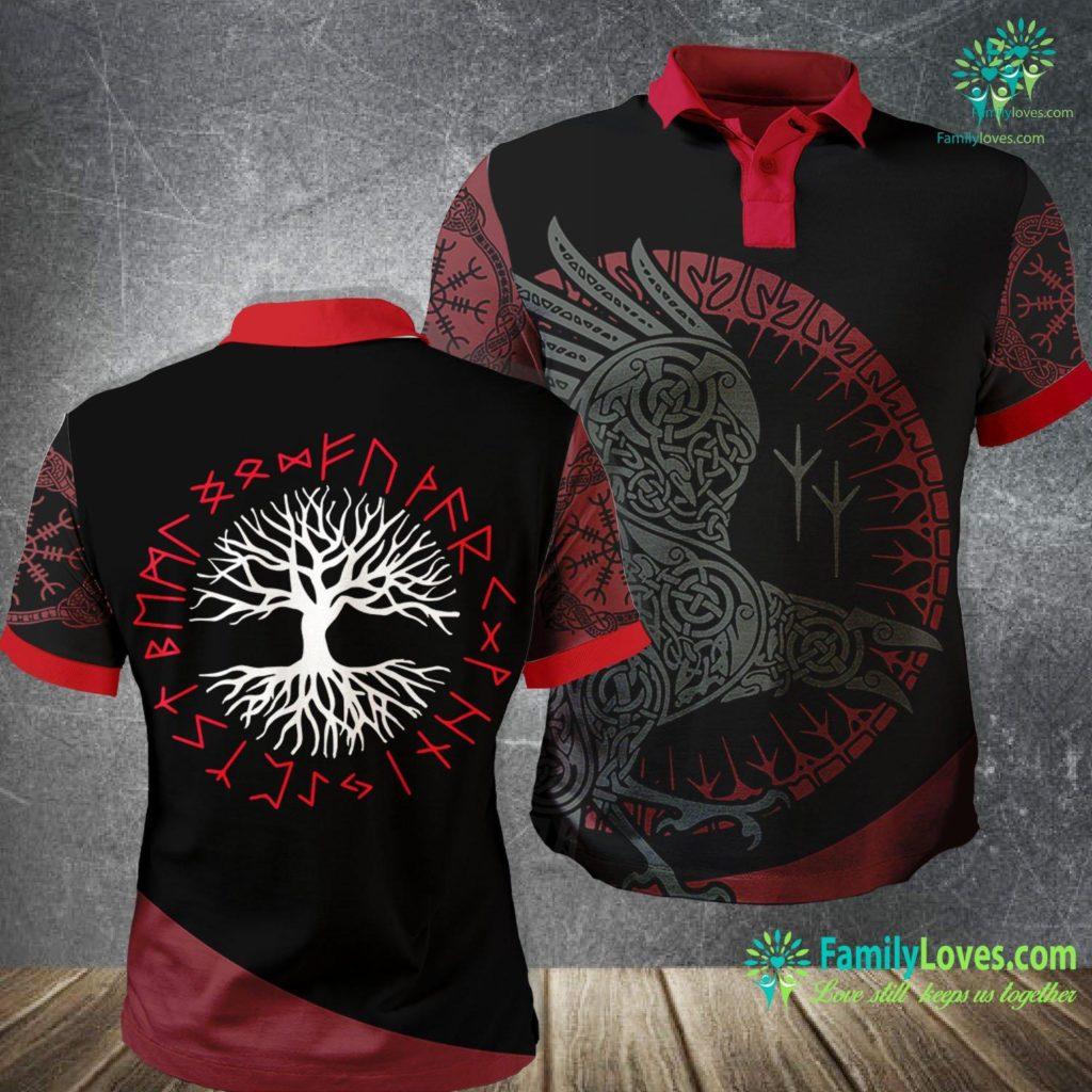 Viking Symbol For Strength Yggdrasil Tree Of Life With Red Viking Rune Wheel Viking Polo Shirt All Over Print Familyloves.com