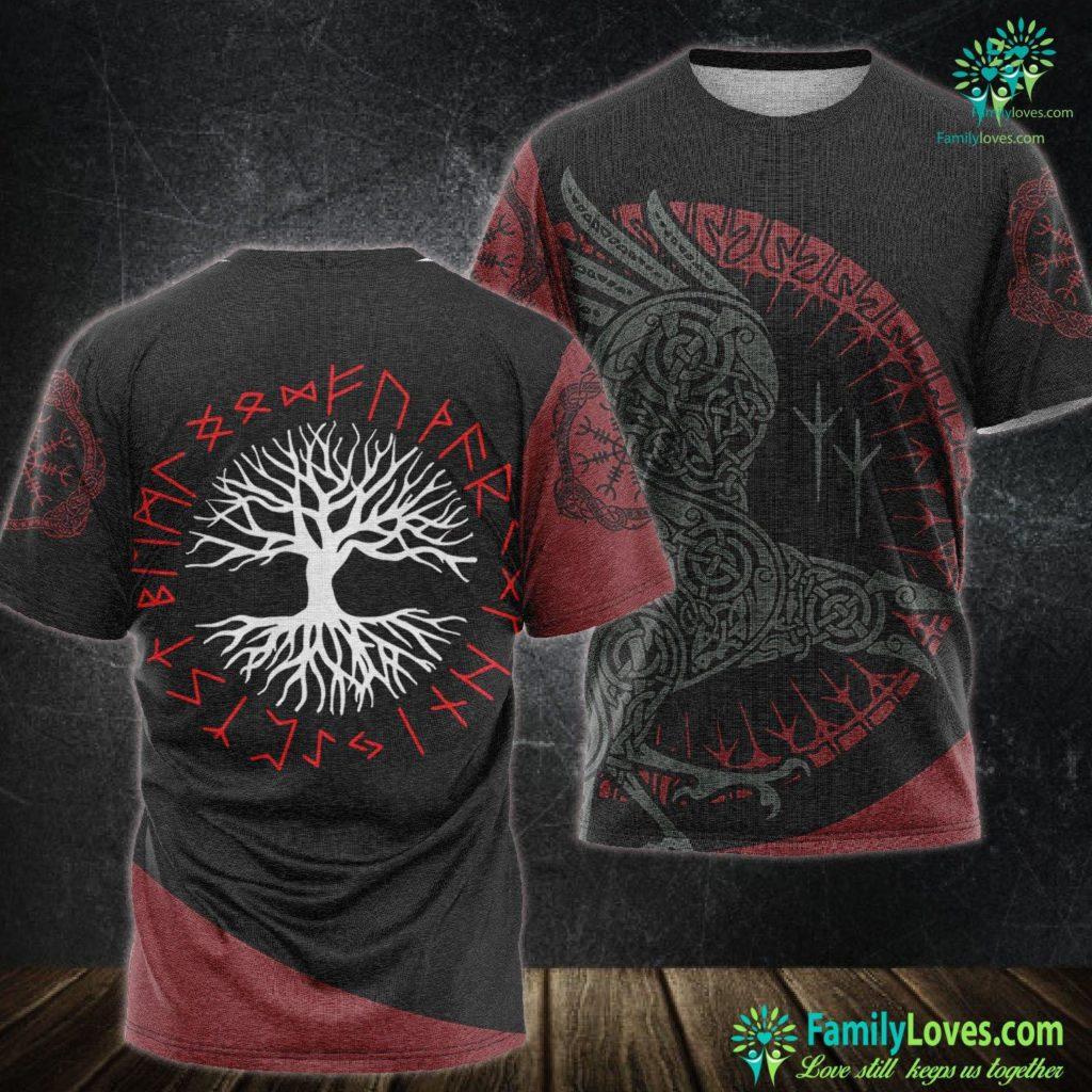 Viking Symbol For Strength Yggdrasil Tree Of Life With Red Viking Rune Wheel Viking Unisex Tshirt All Over Print Familyloves.com