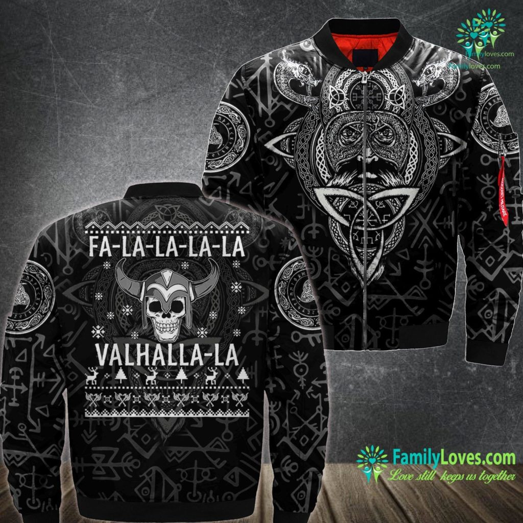 Viking Tactics Fa La La La La Valhalla La Christmas Viking Warrior Ugly Viking Ma1 Bomber Jacket All Over Print Familyloves.com