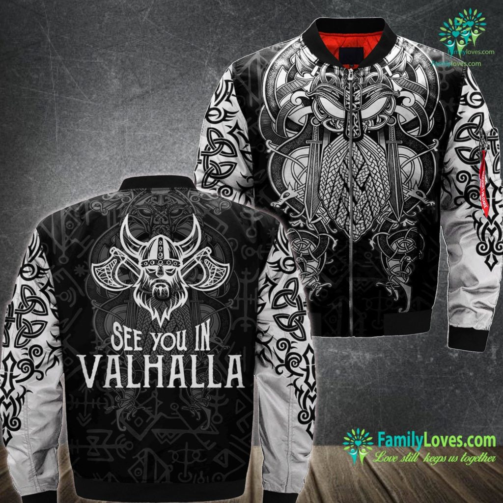 Vikings Blog See You In Valhalla Brother Viking Ma1 Bomber Jacket All Over Print Familyloves.com