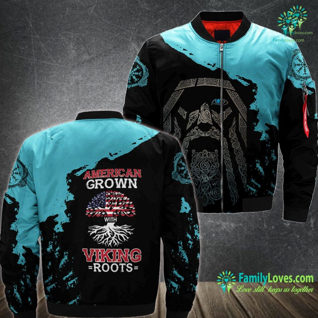 Vikings In North America American Grown With Viking Roots Patriotic Norse Heritage Viking Ma1 Bomber Jacket All Over Print Familyloves.com