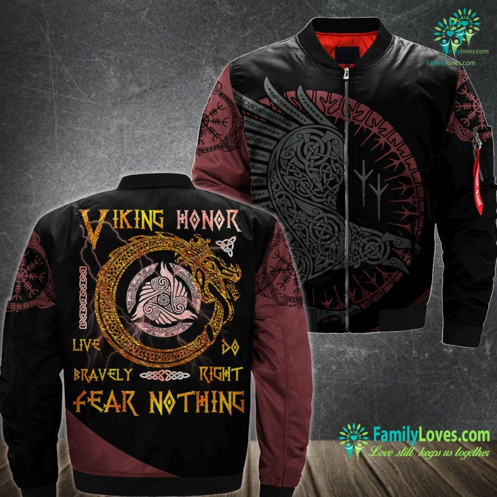 Warrior Symbols Viking Honor Live Bravely Tee Vikings Fans Culture Viking Ma1 Bomber Jacket All Over Print Familyloves.com