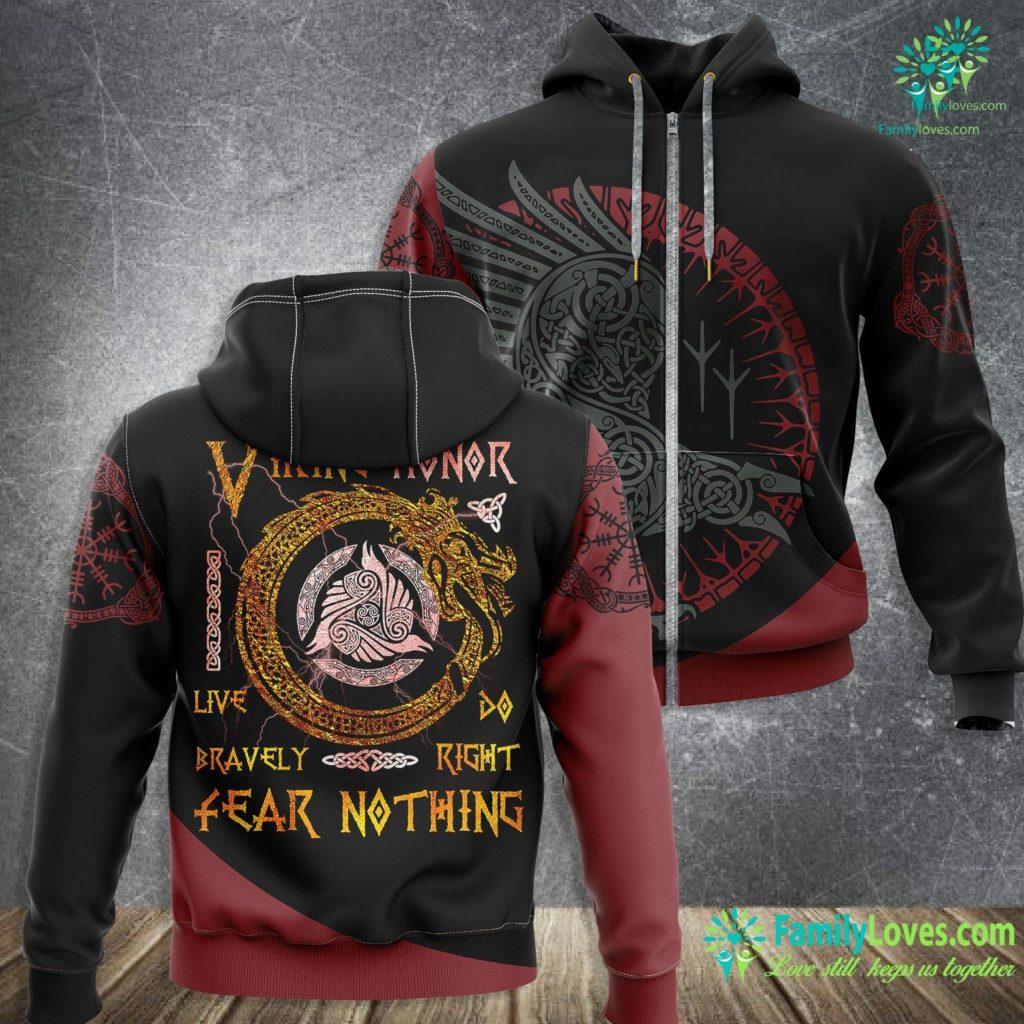 Warrior Symbols Viking Honor Live Bravely Tee Vikings Fans Culture Viking Zip-up Hoodie All Over Print Familyloves.com