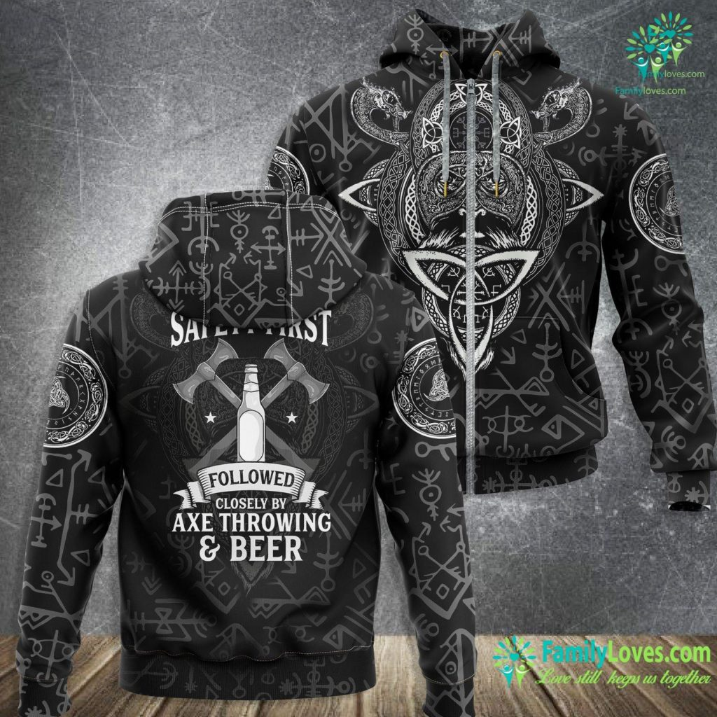 What Country Were The Vikings From Funny Safety First Axe Throwing And Beer Retro Viking Viking Zip-up Hoodie All Over Print Familyloves.com