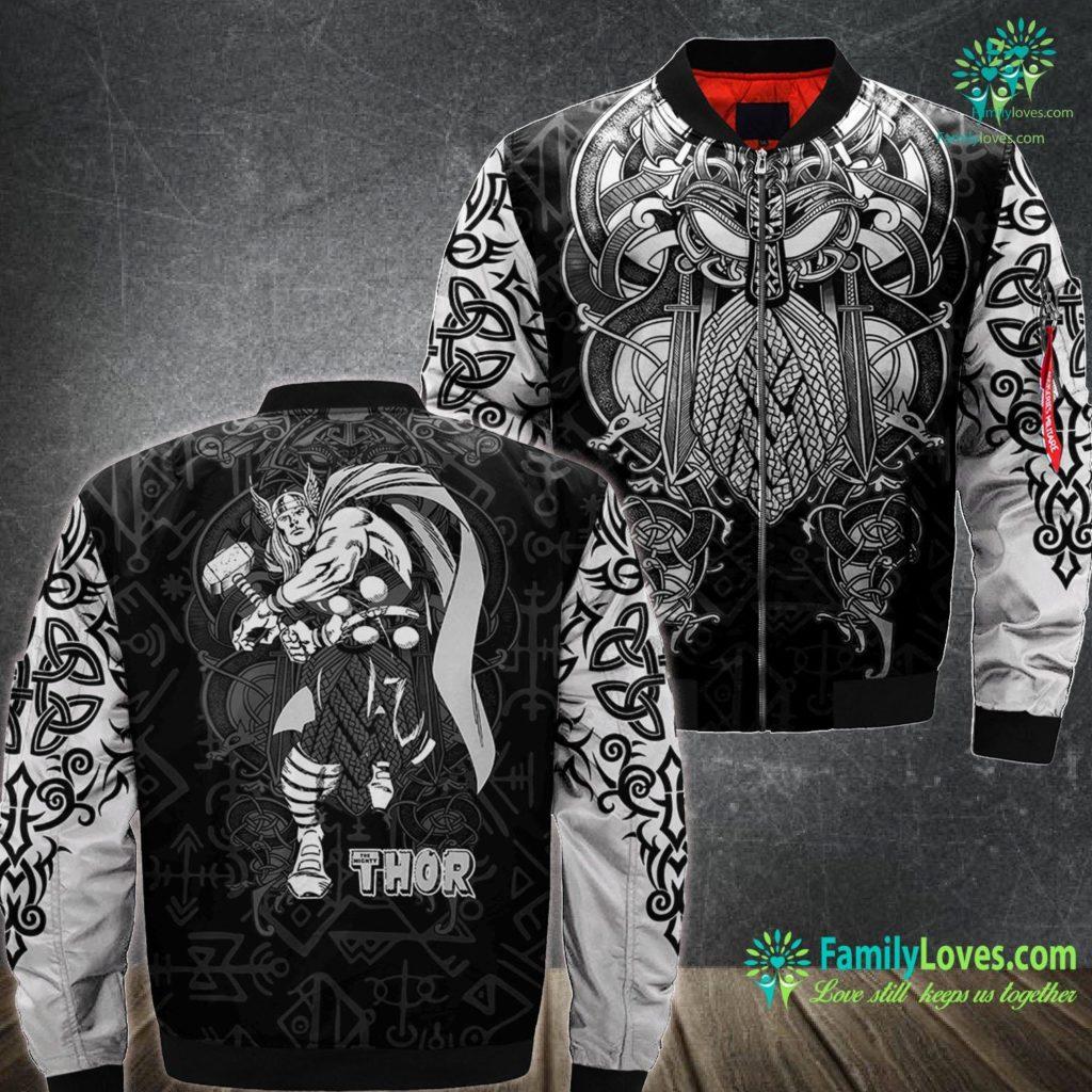 Who Is Thor Marvel Thor Retro Hammer Swing Tonal Portrait Viking Ma1 Bomber Jacket All Over Print Familyloves.com