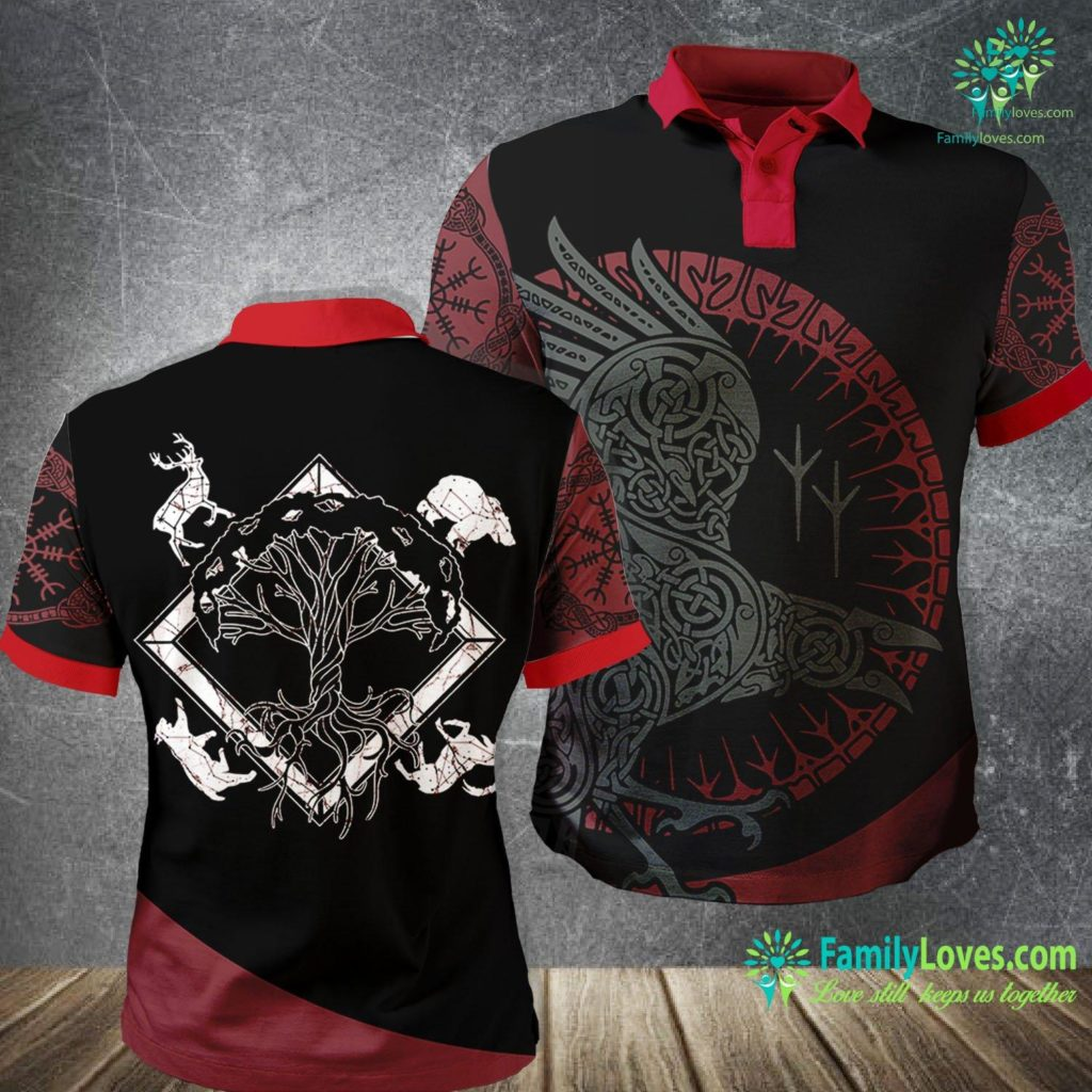 Wolf Pendant Viking Pagan Gift Norse Mythology Valhalla Tree Of Life Viking Polo Shirt All Over Print Familyloves.com