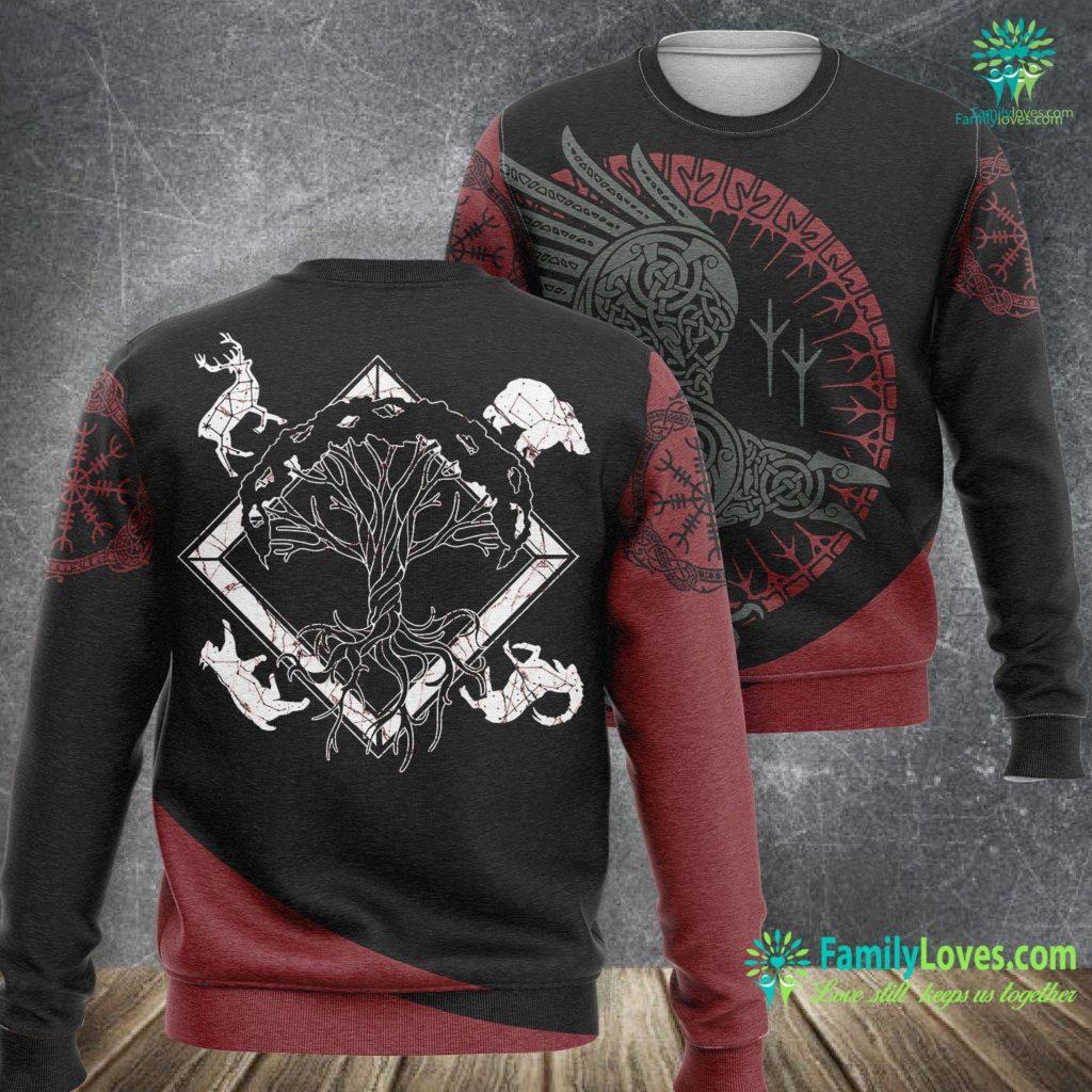 Wolf Pendant Viking Pagan Gift Norse Mythology Valhalla Tree Of Life Viking Sweatshirt All Over Print Familyloves.com