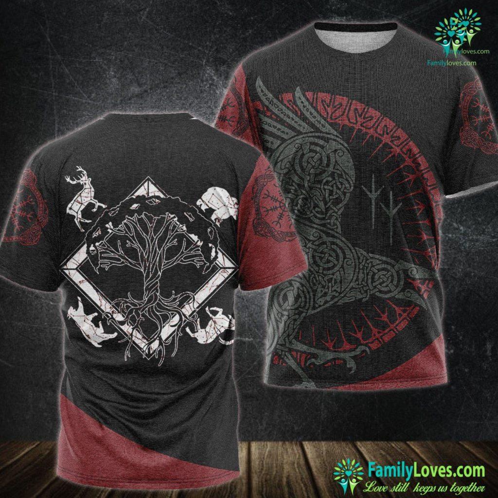 Wolf Pendant Viking Pagan Gift Norse Mythology Valhalla Tree Of Life Viking Unisex Tshirt All Over Print Familyloves.com
