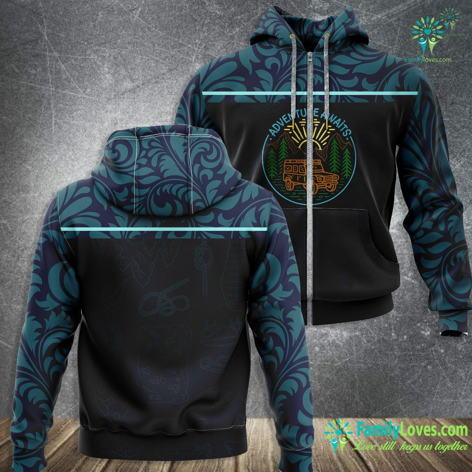 Adventure Awaits Mountain Camping 3D All Over Printed Zip Hoodie Familyloves.com