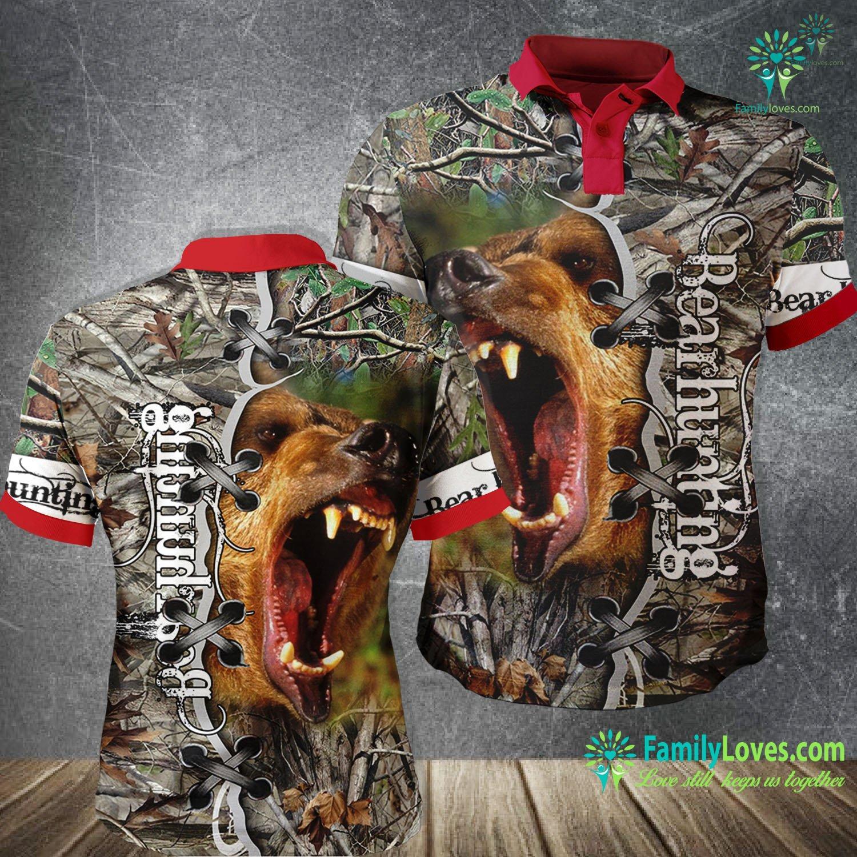 Bear Hunting 3D All Over Printed Polo Shirt Familyloves.com