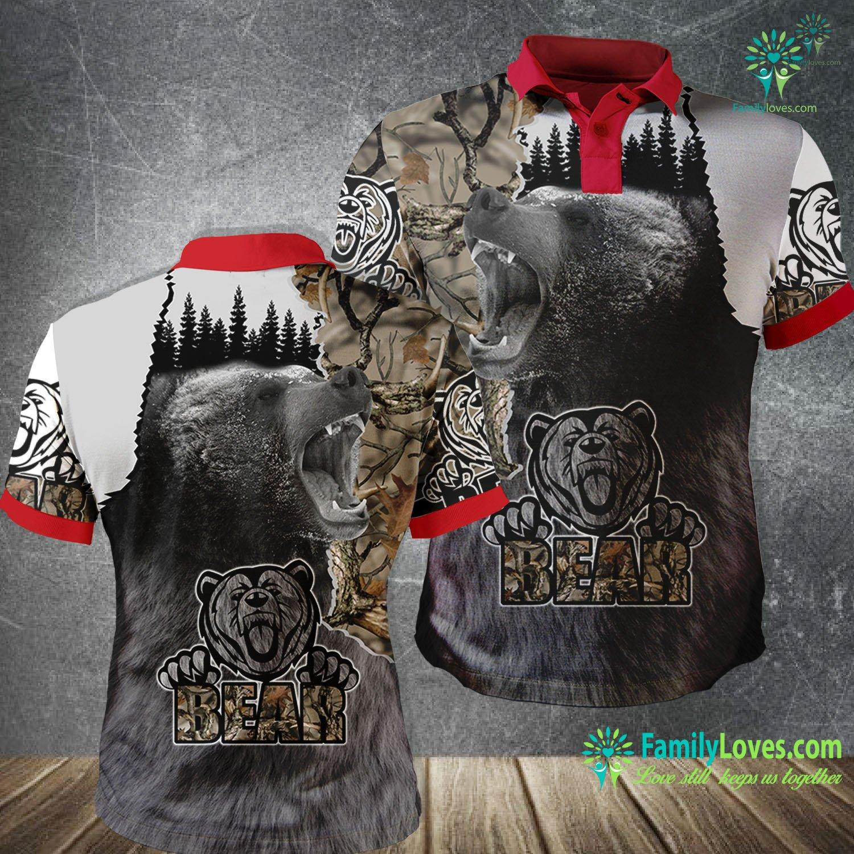 Bear Hunting Camo 3D All Over Printed Polo Shirt Familyloves.com