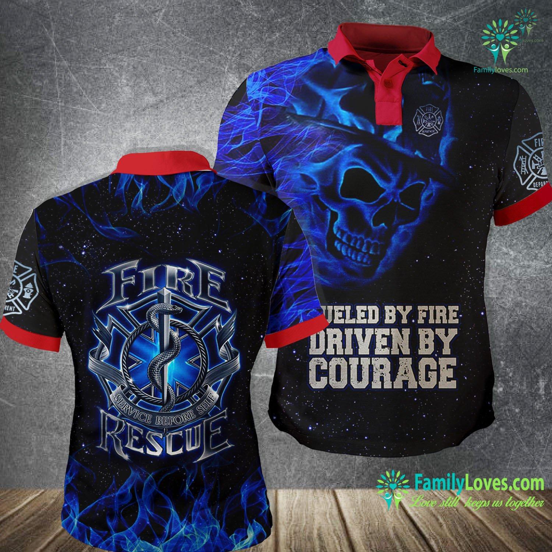 Blue Skull Firefighter 3D All Over Printed Polo Shirt Familyloves.com