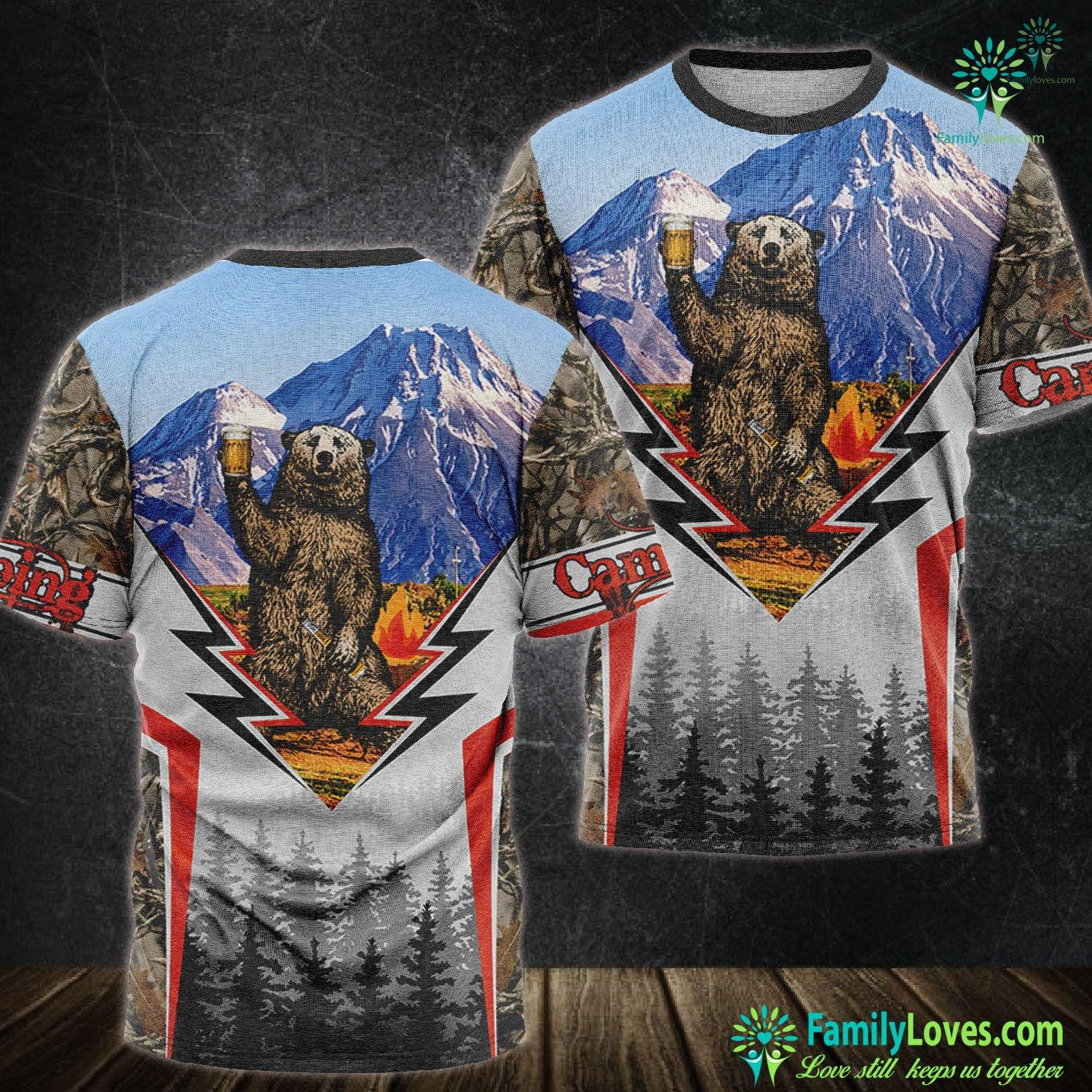 Camping Mountain Bear Beer 3D All Over Printed Tshirt Familyloves.com