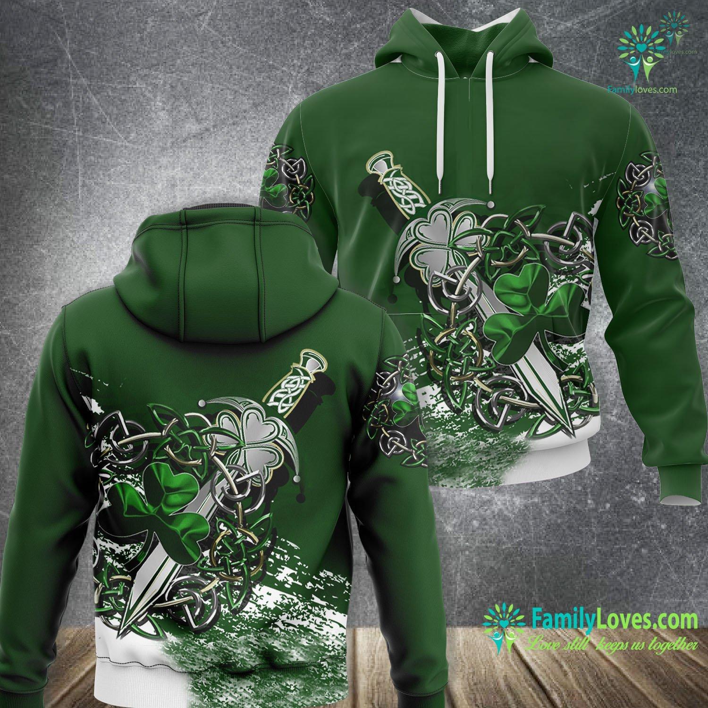 Celtic Shamrock & Sword 3D All Over Printed Hoodie Familyloves.com
