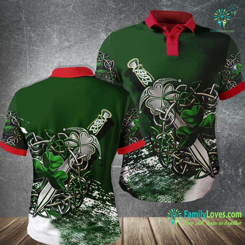 Celtic Shamrock & Sword 3D All Over Printed Polo Shirt Familyloves.com