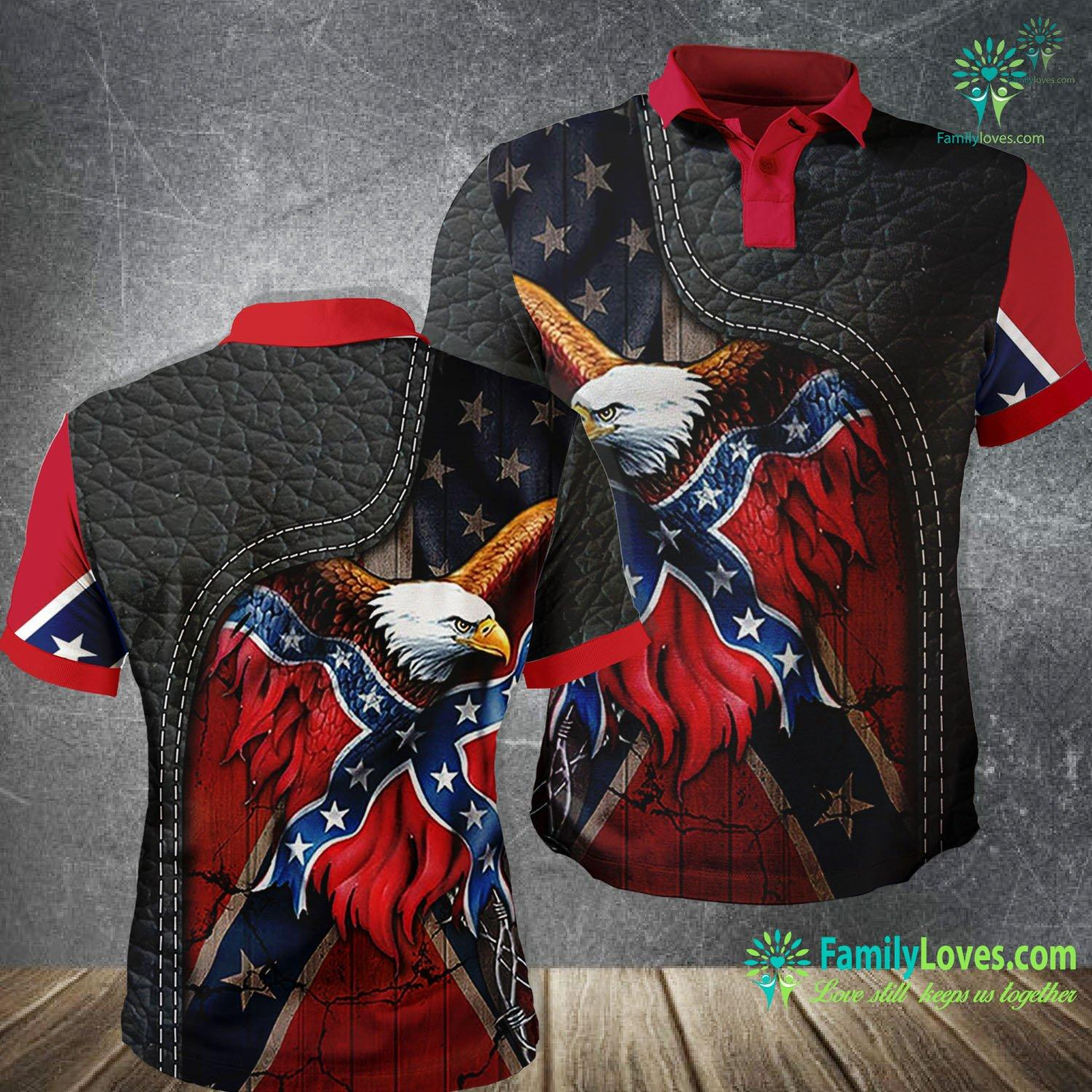 Confederate American History Eagle 3D All Over Printed Polo Shirt Familyloves.com