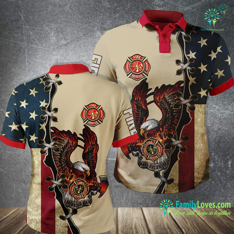 Eagle American Flag Firefighter 3D All Over Printed Polo Shirt Familyloves.com