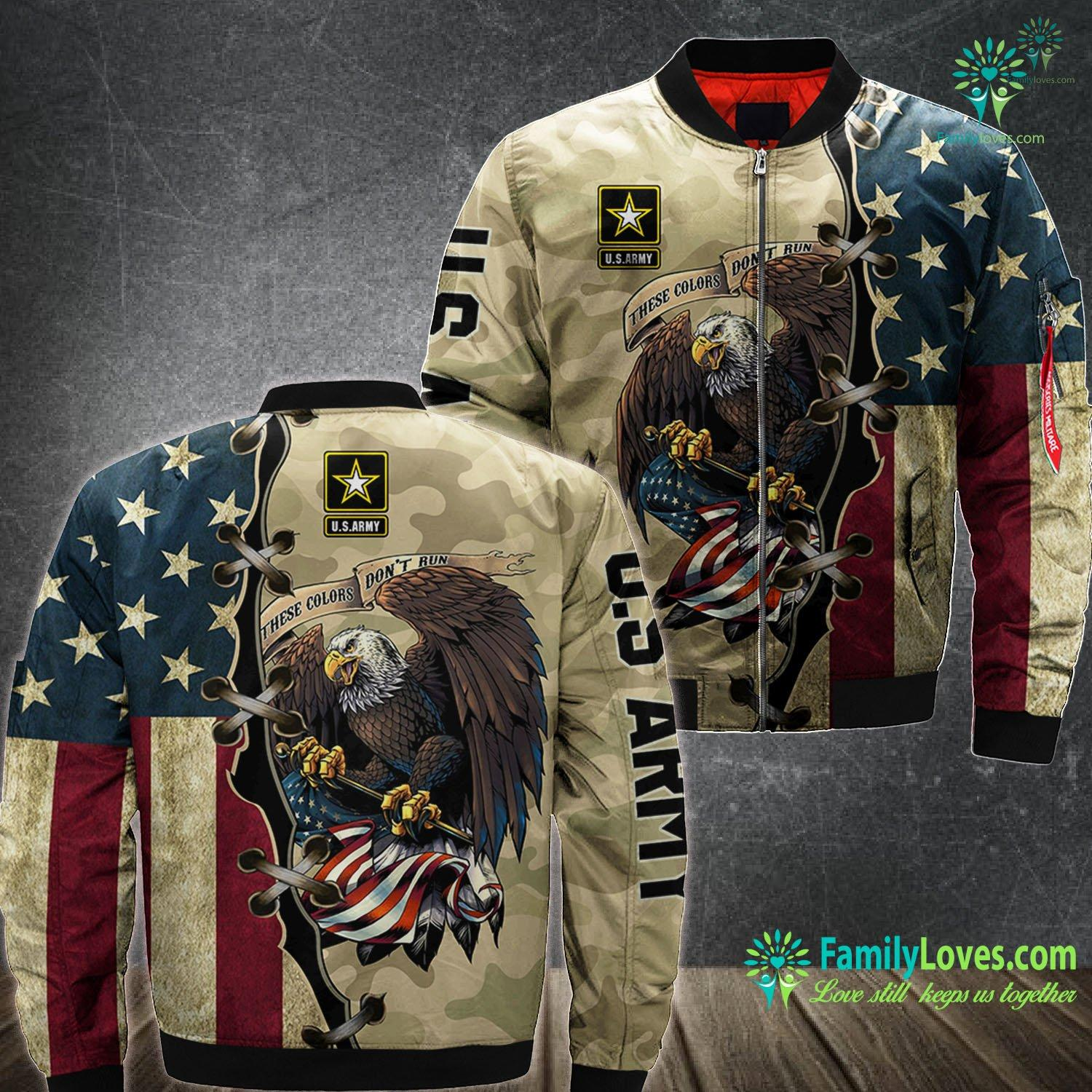 Eagle Us Army These Colors Don'T Run 3D All Over Printed Bomber Jacket Familyloves.com