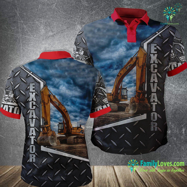 Excavator Heavy Equipment 3D All Over Printed Polo Shirt Familyloves.com