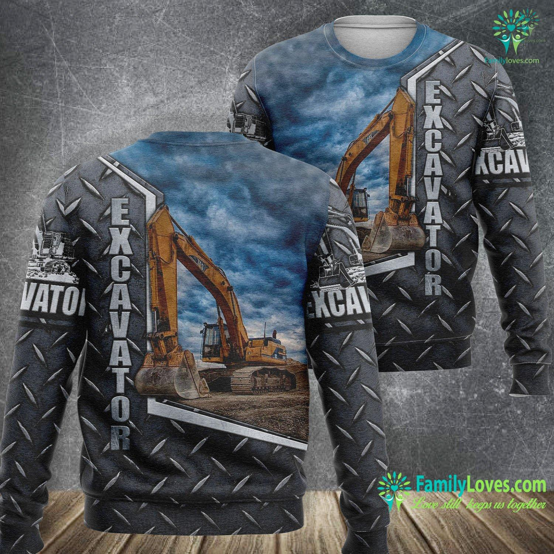 Excavator Heavy Equipment 3D All Over Printed Sweatshirt Familyloves.com