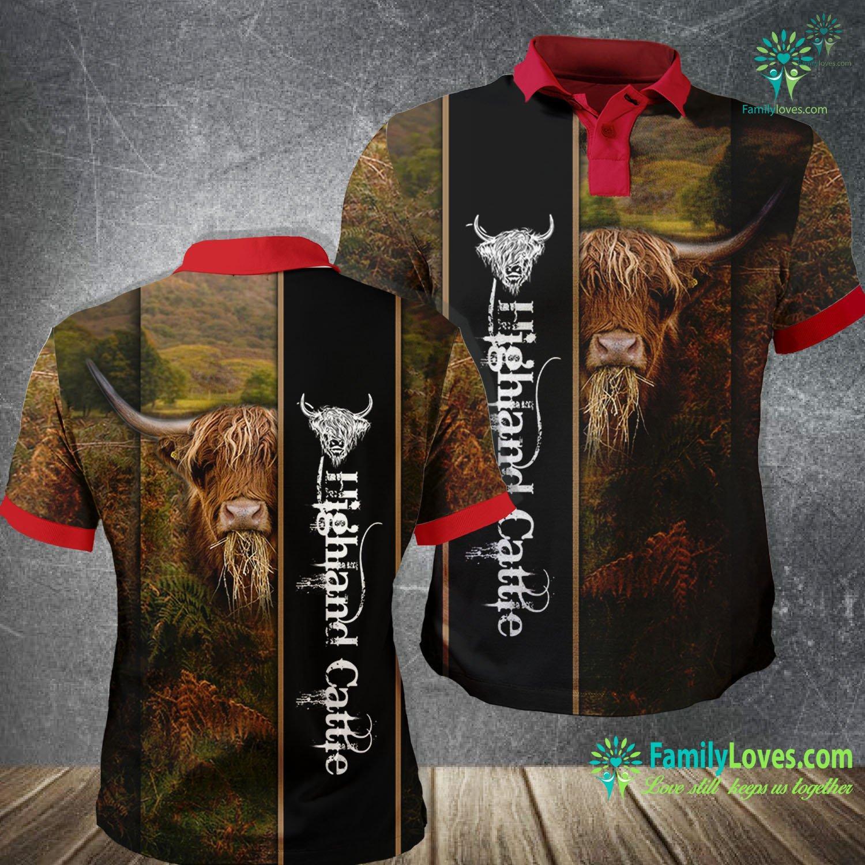 Highland Cattle 3D All Over Printed Polo Shirt Familyloves.com