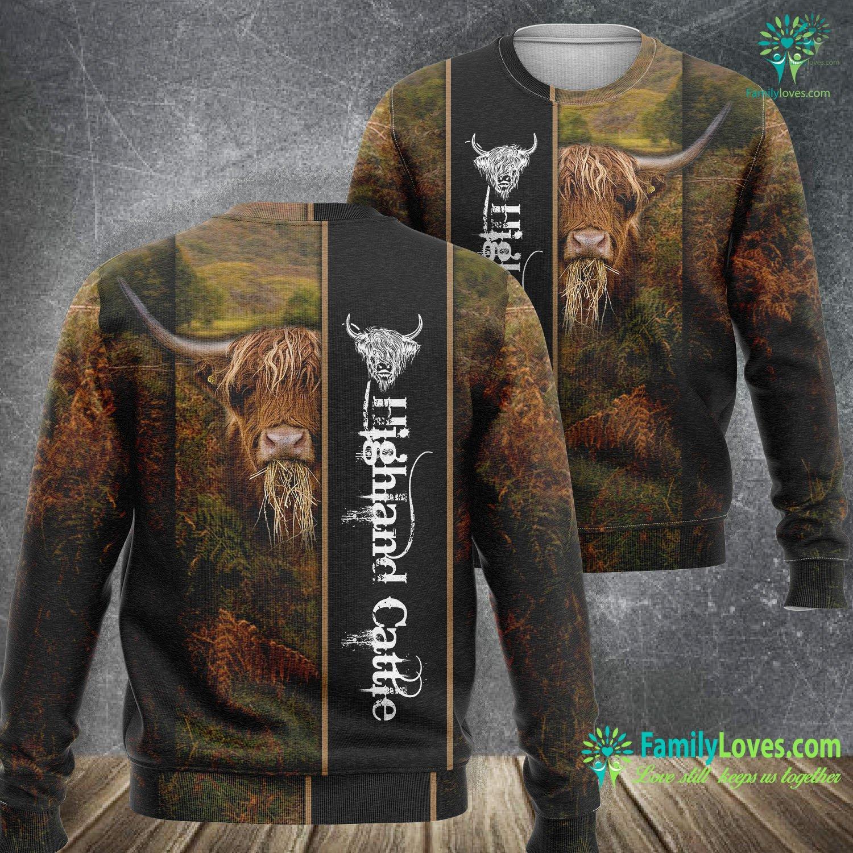 Highland Cattle 3D All Over Printed Sweatshirt Familyloves.com