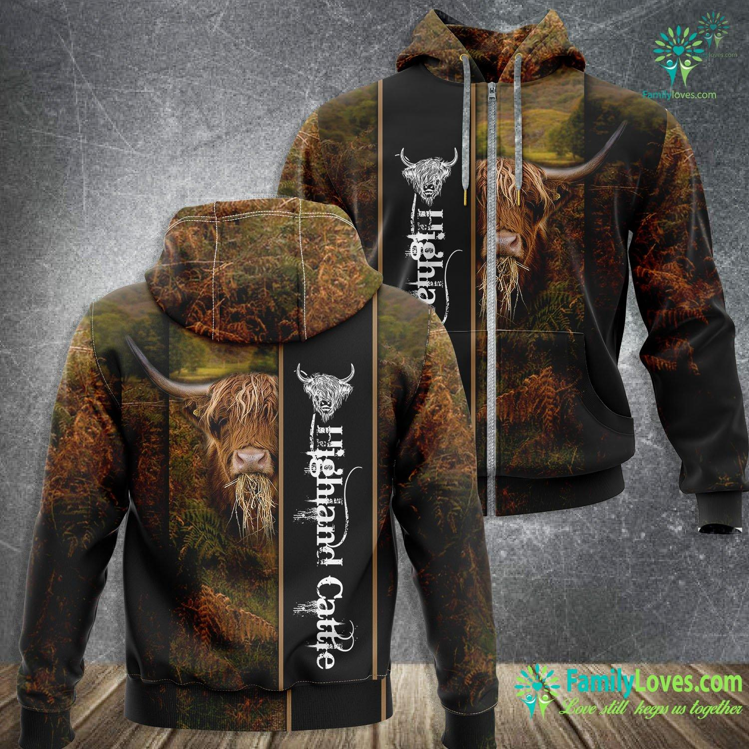 Highland Cattle 3D All Over Printed Zip Hoodie Familyloves.com