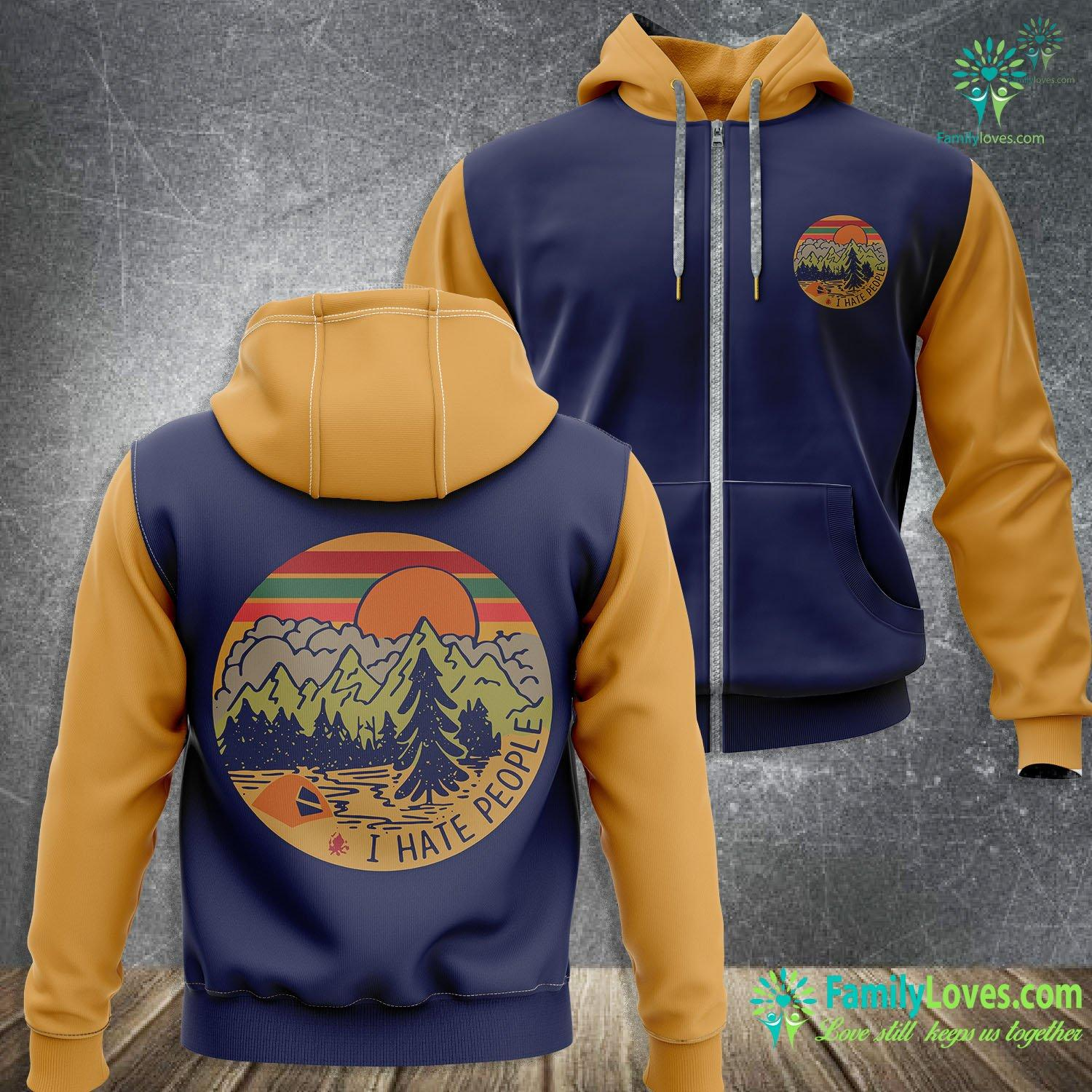 I Hate People Camping 3D All Over Printed Zip Hoodie Familyloves.com