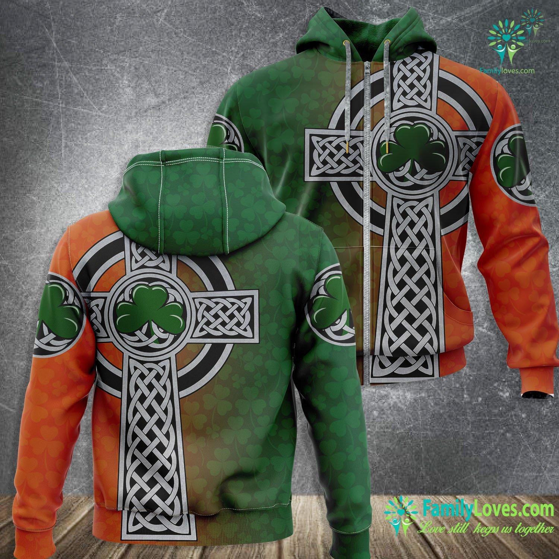 Irish Saint Patrick'S Day Shamrock Celtic Cross 3D All Over Printed Zip Hoodie Familyloves.com