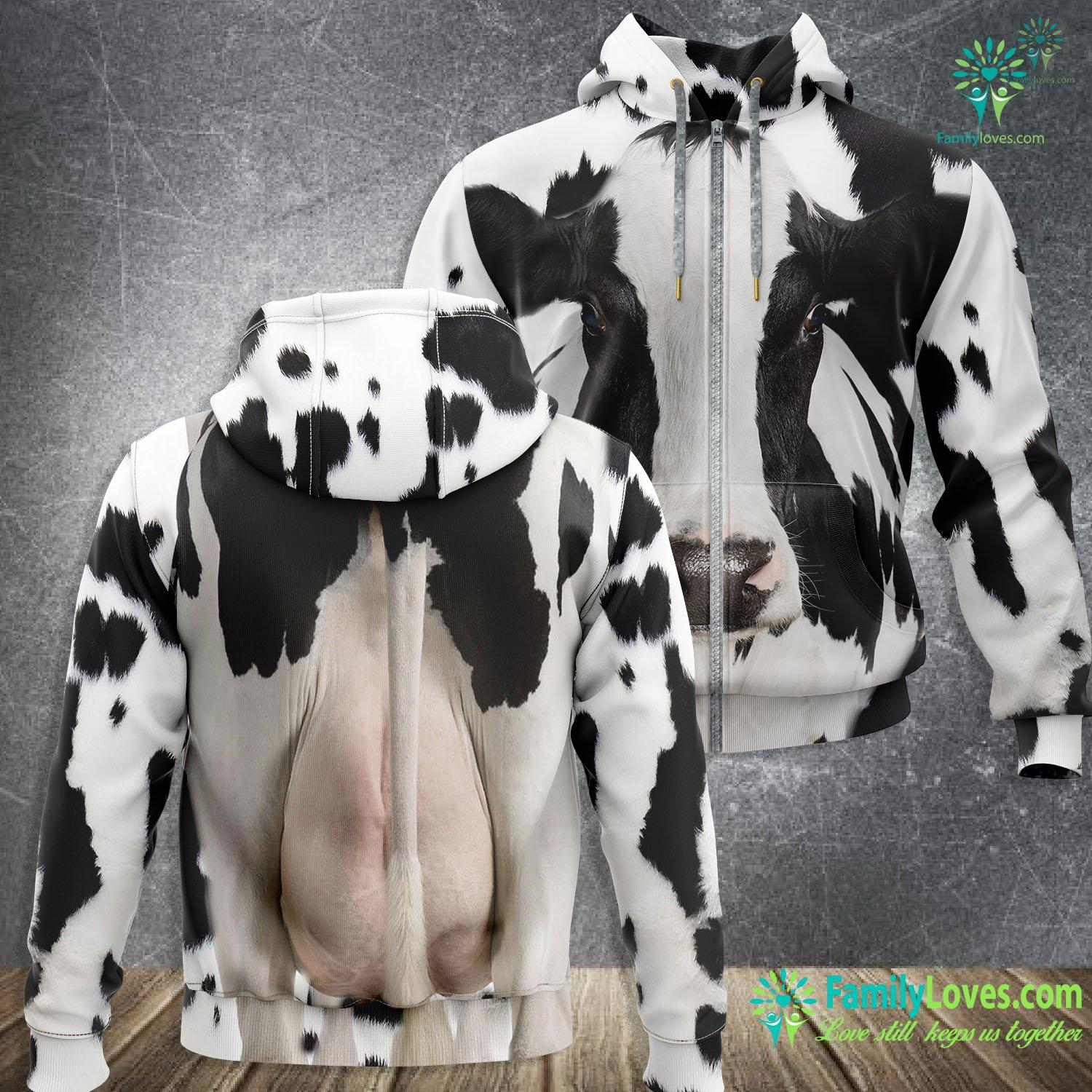 Love Cow 3D All Over Printed Zip Hoodie Familyloves.com