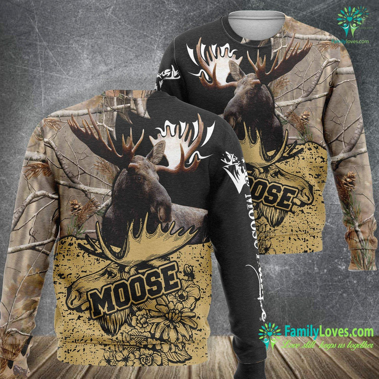Moose Hunting 3D All Over Printed Sweatshirt Familyloves.com