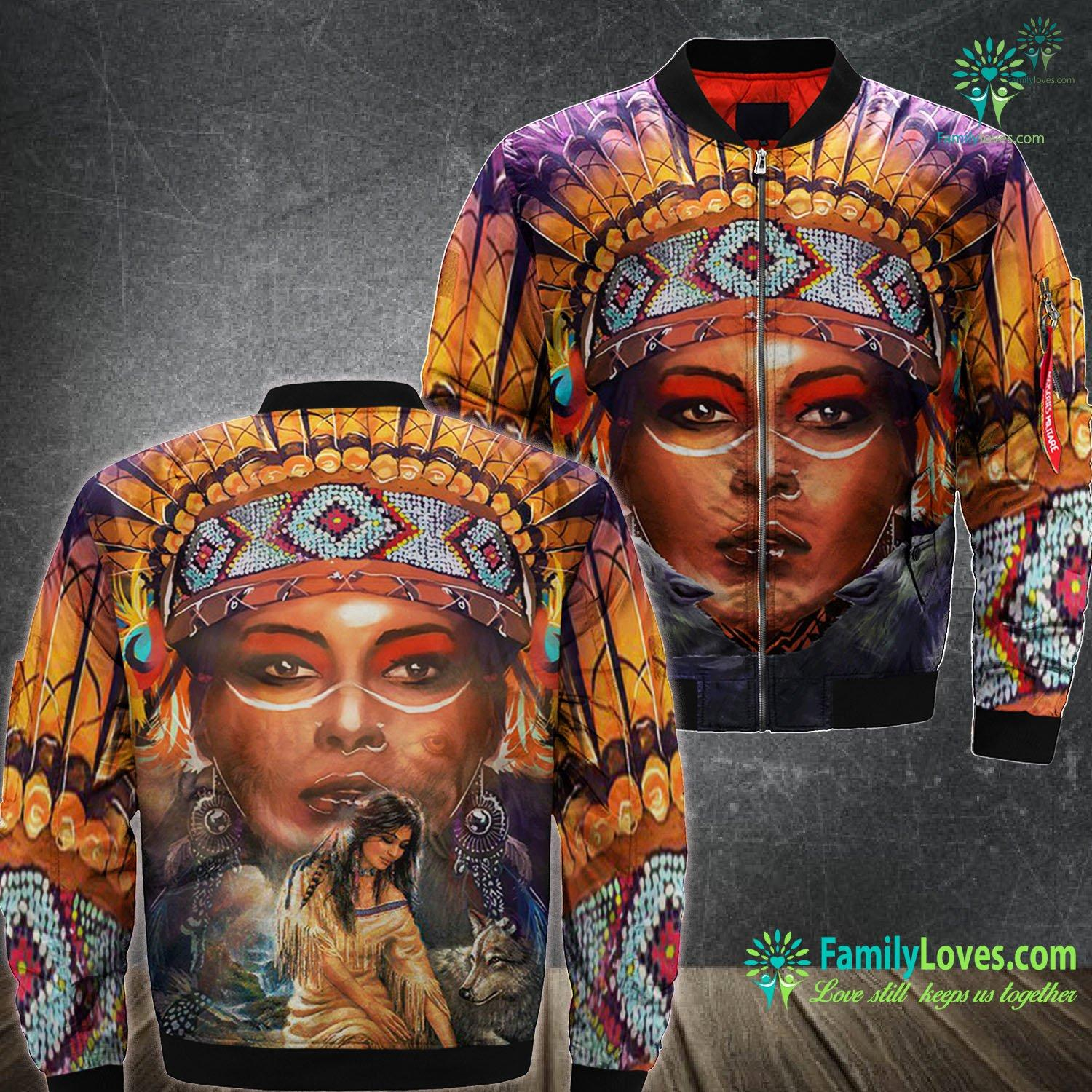Native American Woman Wolf 3D All Over Printed Bomber Jacket Familyloves.com