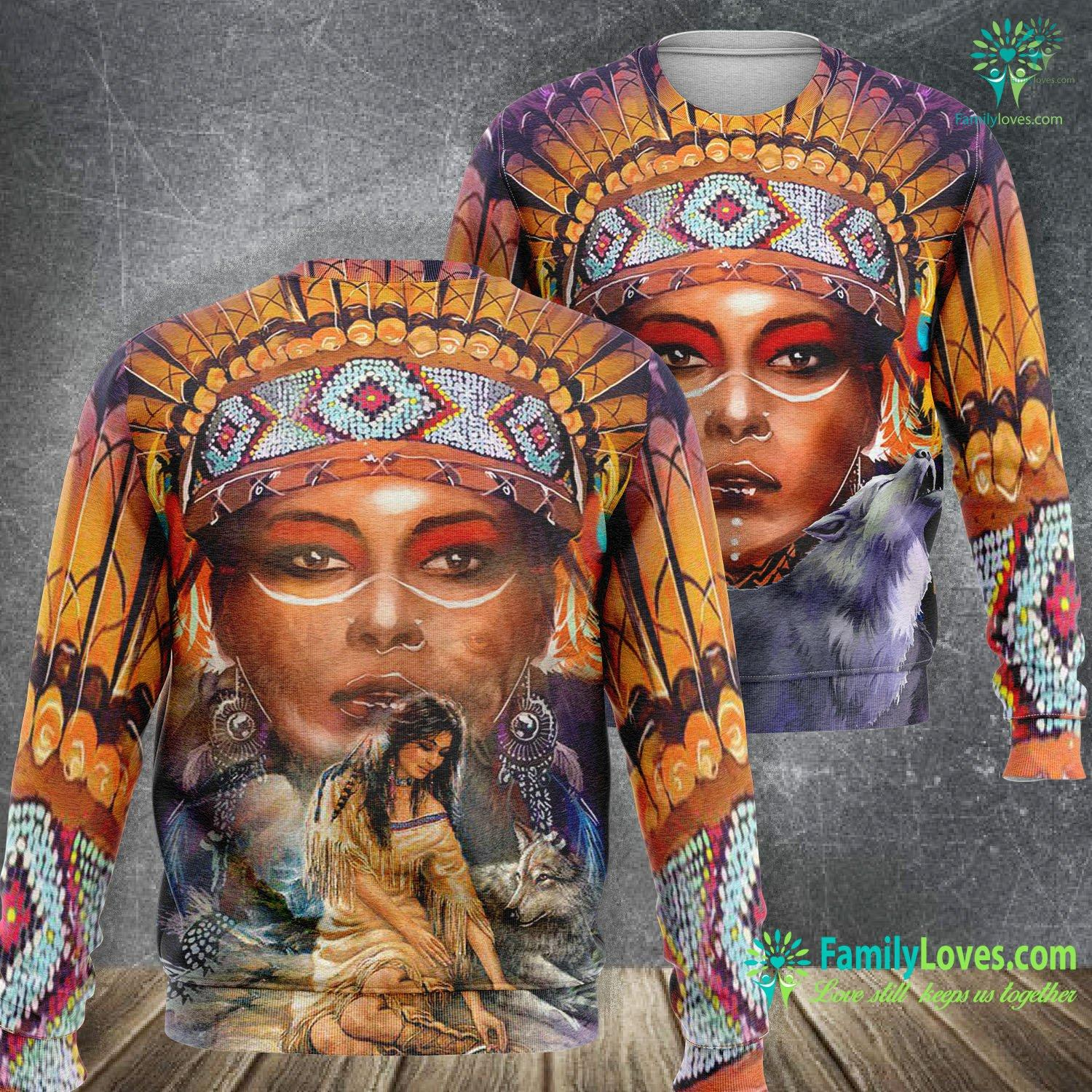 Native American Woman Wolf 3D All Over Printed Sweatshirt Familyloves.com