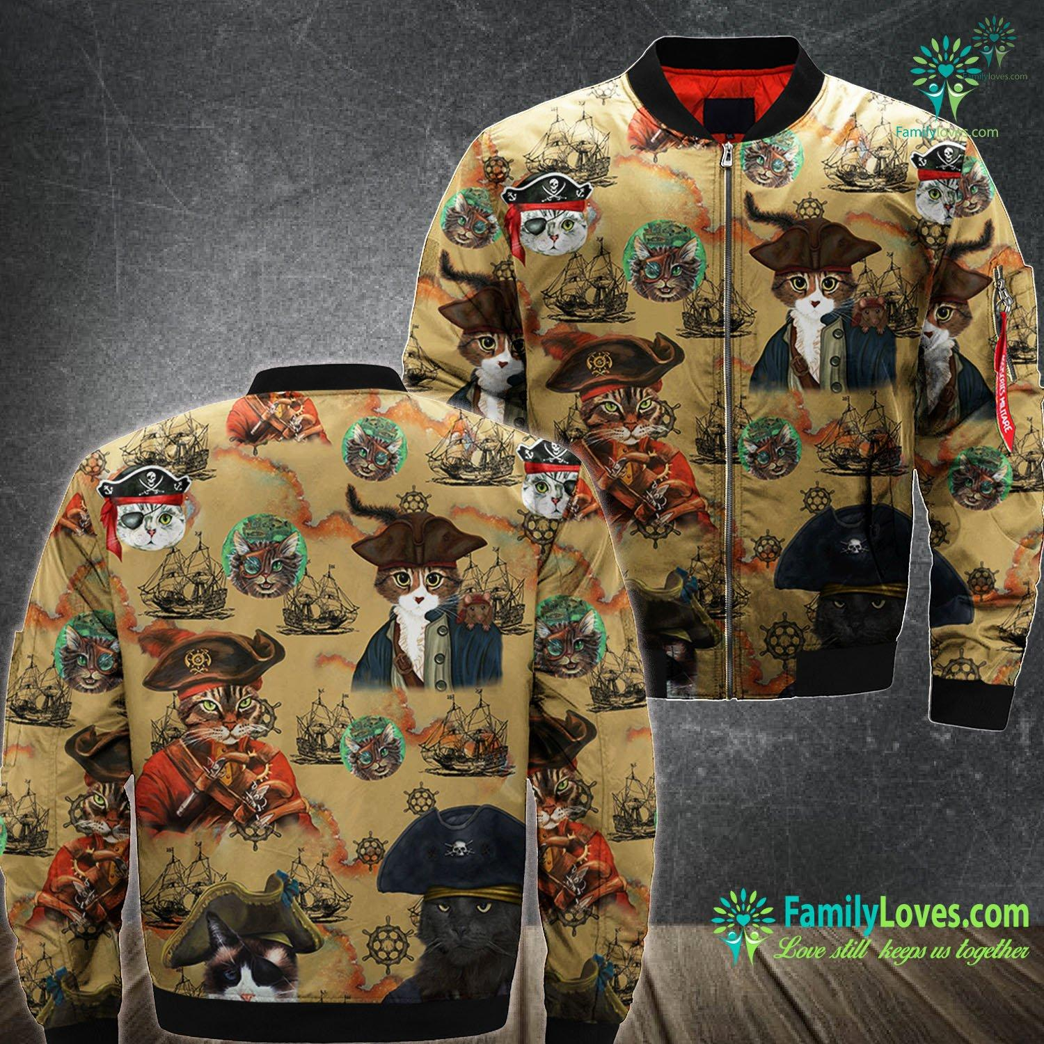Pirates Cat 3D All Over Printed Bomber Jacket Familyloves.com