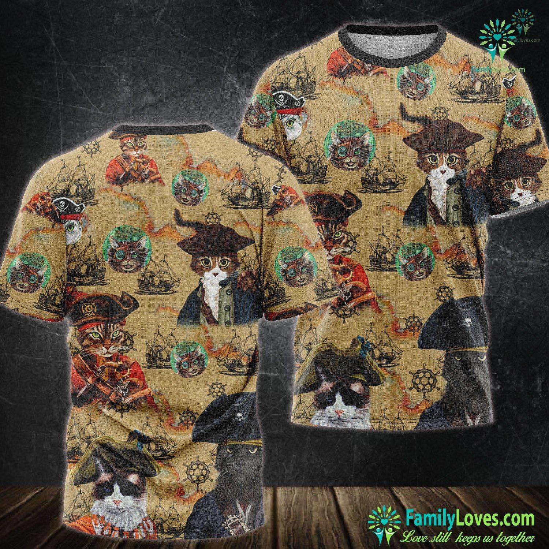Pirates Cat 3D All Over Printed Tshirt Familyloves.com