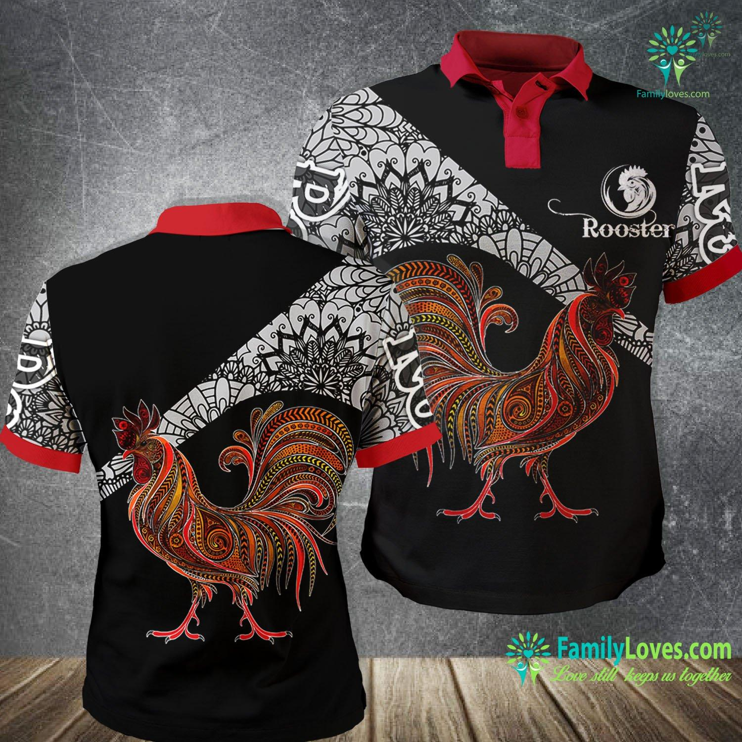 Rooster 3D All Over Printed Polo Shirt Familyloves.com