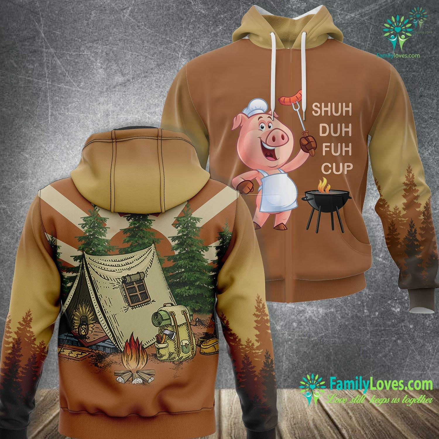 Shuh Duh Fuh Cup Pig Bear Camping 3D All Over Printed Hoodie Familyloves.com