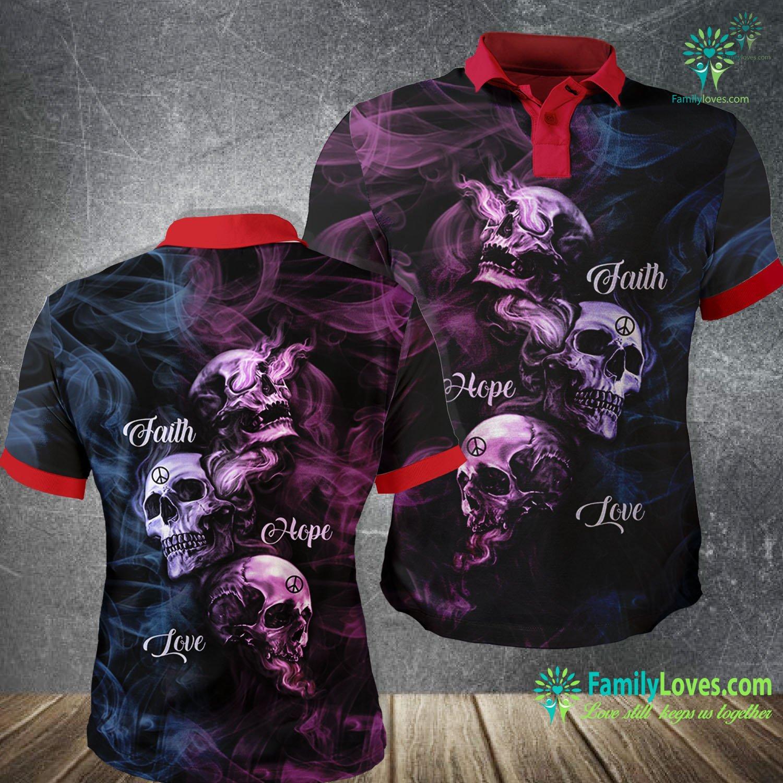 Skull Art Faith Hope Love 3D All Over Printed Polo Shirt Familyloves.com