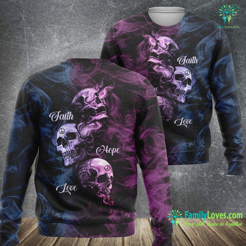 Skull Art Faith Hope Love 3D All Over Printed Sweatshirt Familyloves.com