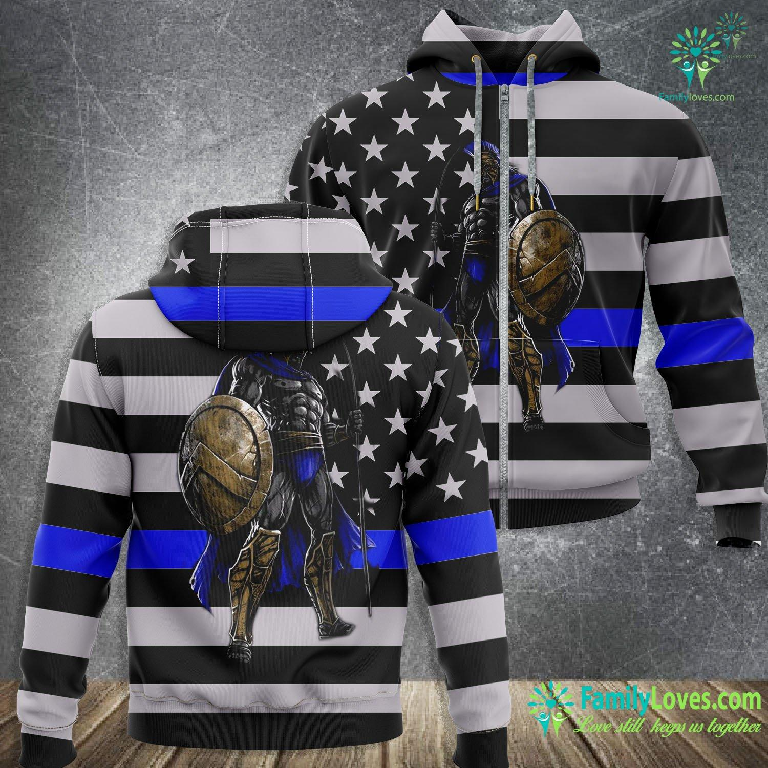 Thin Blue Line Spartan Warrior 3D All Over Printed Zip Hoodie Familyloves.com