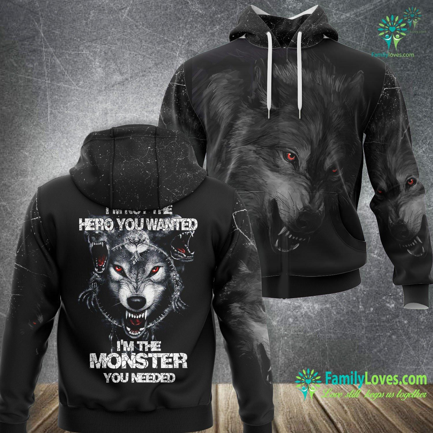 Wolf I Am Not Hero 3D All Over Printed Hoodie Familyloves.com