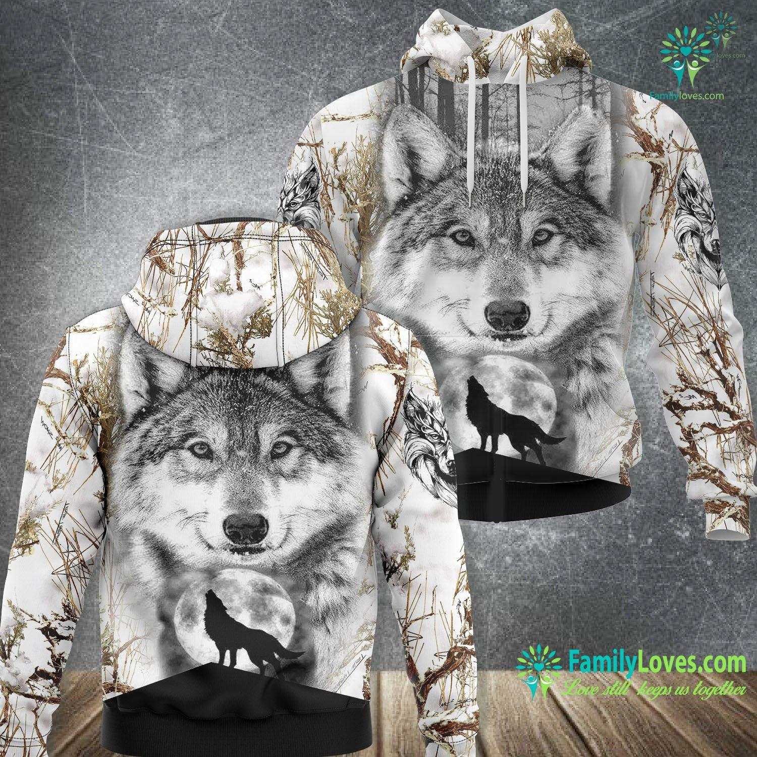 Wolf Moon 3D All Over Printed Hoodie Familyloves.com