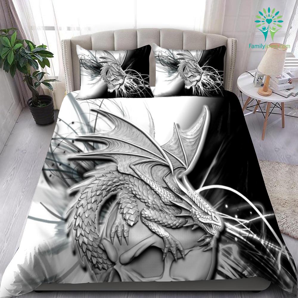Skull And Drago Black And White Bedding Set Familyloves.com