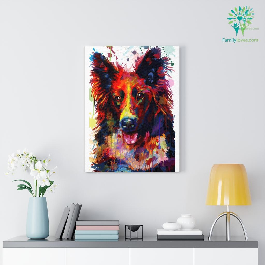 Border Collie Dog colorful canvas 2 Familyloves.com