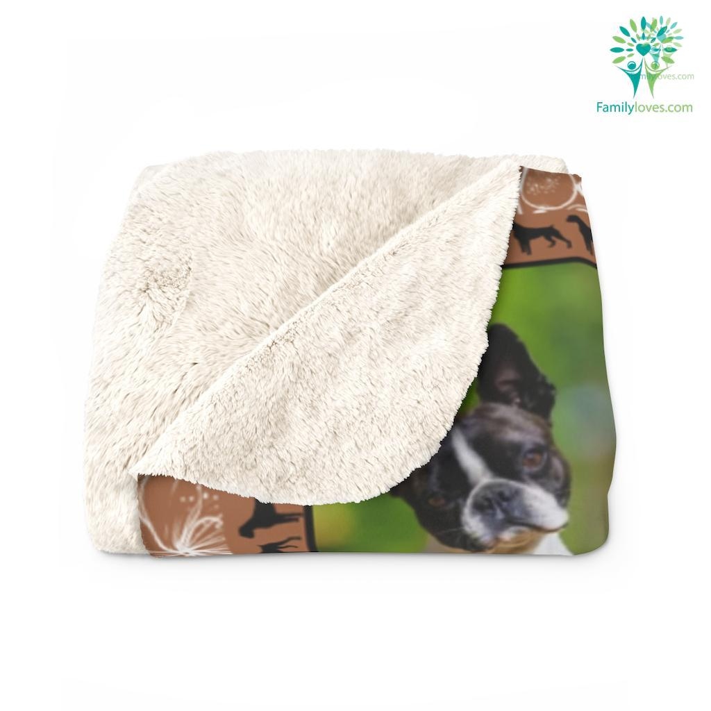 Any Woman Can Be A Mother But It Takes Someone Boston Terrier Mom Sherpa Fleece Blanket Familyloves.com