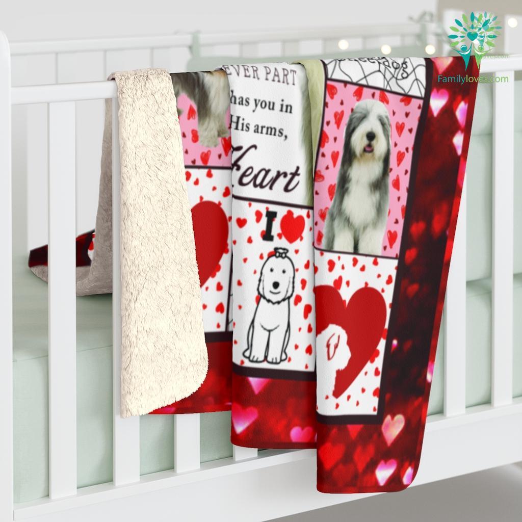 I Love Old English Sheep Dog Sherpa Fleece Blanket Familyloves.com